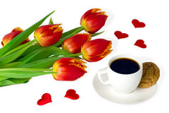 Red tulips and cup of coffee on white backgroung Stock Images