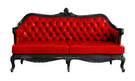 Isolated Red Vintage Couch Stock Photography
