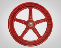 Isolated Red Vintage Industrial Tap With Open and an Arrow. Close Up of a Large Red Industrial Opening Wheel Isoalted Stock Photo