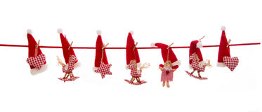 Isolated red white checked hanging christmas decoration. Stock Images