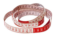 Isolated Red and White Dressmaking Tape Measure Stock Photos