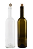 Isolated red and white wine bottles Royalty Free Stock Images