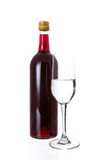 Isolated of the red wine bottle with glass on white background Stock Photo