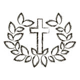 Isolated religion cross and wreath design Royalty Free Stock Photography