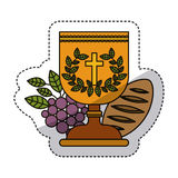 Isolated religion cup grapes and bread design Stock Photography