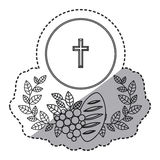 Isolated religion wreath grapes and bread design Royalty Free Stock Photos