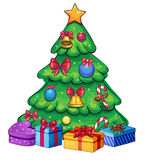 Isolated retro colorful christmas tree. With presents and gifts and candy and bows Stock Photography