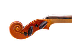 Isolated retro and cracked violin fragment stock image