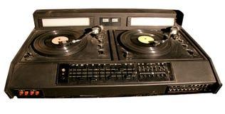Isolated retro dj's mixer. Isolated vinyl soviet dj's mixer of 80s made in USSR Stock Photos