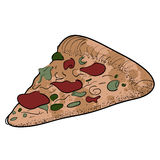 Isolated retro pizza Stock Photo
