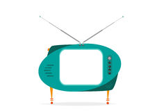 Isolated Retro TV Green with empty space. Editable Clip Art. Royalty Free Stock Photos