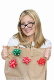 Isolated retro woman with holiday  bag. Stock Photo