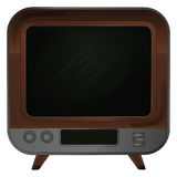 Isolated retro wooden television on legs vector Royalty Free Stock Photography