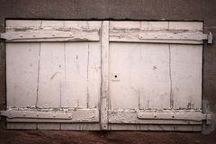 Isolated retro wooden window shutters Stock Photo