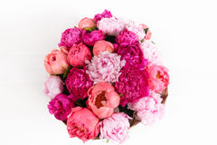 isolated Rich bunch of peonies and tea roses on white background Royalty Free Stock Image