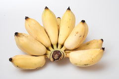Isolated ripe cultivated banana on white background Stock Photo