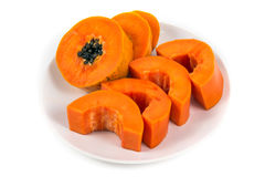 Isolated ripe papaya in the white dish Stock Images