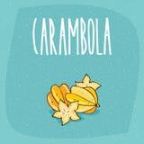 Isolated ripe starfruit fruits or carambola stock illustration