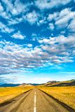 Isolated road and Icelandic colorful landscape at Iceland,. Late Summer time, almost Autumn Royalty Free Stock Images