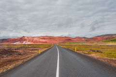 Isolated road and mountain landscape at Iceland Royalty Free Stock Photo