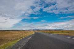 Isolated road and mountain landscape at Iceland Royalty Free Stock Image