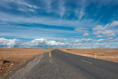 Isolated road and mountain landscape at Iceland Stock Photo