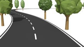 Follow road with trees traffic symbols. Isolated road with trees ending by traffic symbols cones and barricade. Follow path - 3D render animation vector illustration