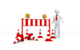 Isolated Roadblock with Businessman. On White Background Royalty Free Stock Photo