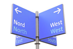 Isolated roadsign with geographic directions Stock Images