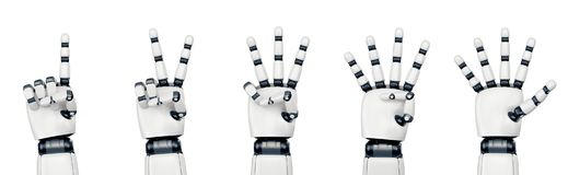 Isolated robot hand counting on white. Five poses of robot hand showing different numbers from one to five stock illustration