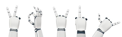 Isolated robot hand gestures on white. Five poses of robot hand showing different gestures Royalty Free Stock Photo