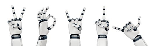 Isolated robot hand gestures on white. Five poses of robot hand showing different gestures Stock Photography