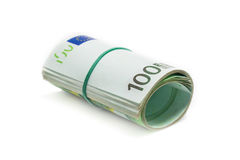 Isolated roll of 100 euro banknotes Stock Photos