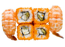 Isolated rolls. & sushi on white background royalty free stock image