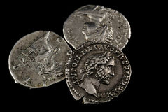 Isolated roman coins Royalty Free Stock Photos