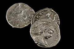 Isolated roman coins Royalty Free Stock Images