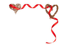 Isolated Romantic Frame Of Wooden Hearts And Red Ribbon With Copy Space Royalty Free Stock Photos