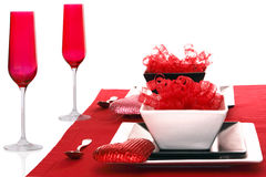 Isolated; Romantic Modern Black & White Table Sett. Ing ~ Red Champagne Flutes with Red Table Linen Stock Photo