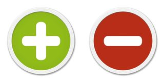 Buttons Plus and Minus green and red stock illustration