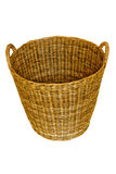 Isolated round woven straw basket Royalty Free Stock Image