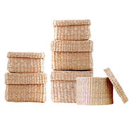 Isolated round woven straw basket Royalty Free Stock Images
