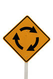 Isolated roundabout road sign Stock Photos