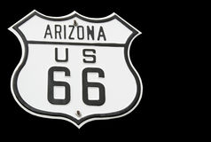 Isolated route 66 sign Stock Images