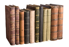 Isolated row with old books Stock Photos