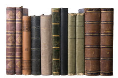 Isolated row with old books. Isolated row of antique books on white background Royalty Free Stock Image