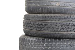 Row of old obsolete car tyre. Isolated row of old obsolete car tyre Stock Image