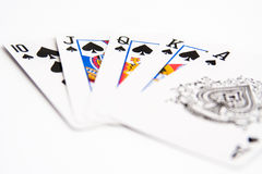 Isolated royal flush. Picture for poker lovers Stock Photo