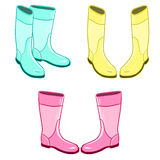 Isolated rubber gumboots. Set of bright neon gumboots. Isolated rubber shoes elements Royalty Free Stock Image