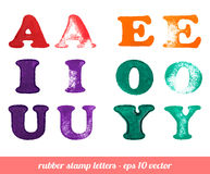 Isolated rubber stamp letters set. A - Y vowels. Vector illustration vector illustration