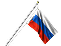 Isolated Russian Flag. Detailed 3d rendering of the flag of Russia hanging on a flag pole isolated on a white background.  Flag has a fabric texture and a Royalty Free Stock Photography
